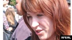 Mariana Rață la un protest în favoarea libertății presei la Chișinău în 2009