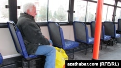 Turkmenistan. An old people in the bus. Ashgabat. December 24, 2013.