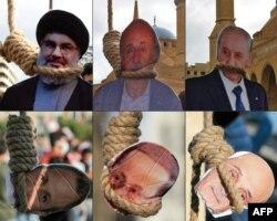 ماکتهایی از «اعدام» نمادین ماکتهای حسن نصرالله و دیگر مقامات لبنان در دست معترضان لبنانی