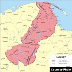 Мапа кашубскіх гаворак