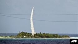 The U.S. military conducted this test of the Patriot system in the Marshall Islands in October.