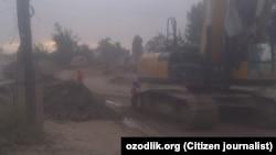 Снос домов на месте строительства Tashkent City.
