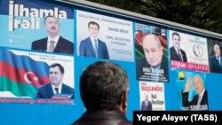 Әзербайжан президенттігіне кандидаттар туралы үгіт-насихат парақшалары. Баку, 9 сәуір 2018 жыл.