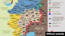 Ситуацијата во Донбас прикажана на мапа.