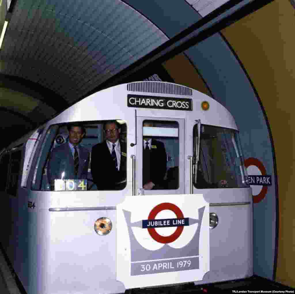Britain's Prince Charles (left) rides in the front of a carriage at the official opening of the Jubilee Line in 1979.
