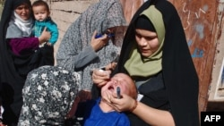 An Afghan health worker administers polio vaccine to a child during a vaccination campaign in Herat in 2010.