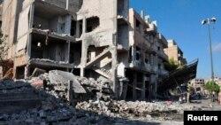 Homs şäheriniň Bab Tadmor etrabynda partlamanyň bolan ýeri, 5-nji sentýabr, 2016