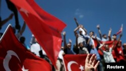 Supporters of Turkish President Tayyip Erdogan during a pro-government demonstration.