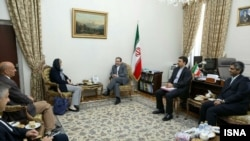 Helga Schmid, the secretary general of European Union external action service, meeting with Iranian Deputy-Foreign Ministers Abbas Araghchi, in Tehran on June 15, 2019.