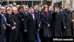 Світові лідери на Марші єдності в Парижі, 11 січня 2015 року