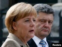 Angela Merkel și Petro Poroșenko, Kiev, 23 august 2014