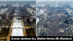 Комбіноване фото аерознімків – кількість людей у центрі Вашингтона станом на 12-ту годину дня під час інавгурації Дональда Трампа 21.01.2017 (л) і Барака Обами (п) 20.01.2009