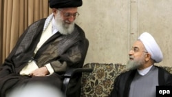 "Iranian Supreme Leader Ayatollah Ali Khamenei (left) and Iranian President Hassan Rohani: ""The value of each to the other is quickly running out,"" says Scott Lucas, an Iran specialist at the University of Birmingham."