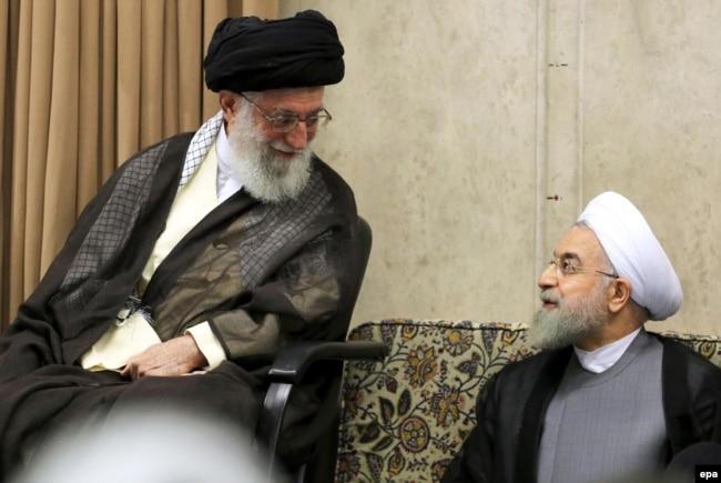 Iranian Supreme Leader Ayatollah Ali Khamenei (left) with Iranian President Hassan Rohani (file photo)
