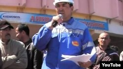 """Работники корпорации """"Казахмыс"""", вышедшие на забастовку с требованием повысить зарплату. Жезказган, рудник """"Анненский"""", 6 мая 2012 года."""