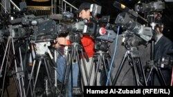 مراسلون عراقيون خلال احد المؤتمرات الصحفية