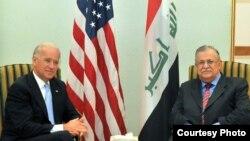Iraqi President Jalal Talabani meets with U.S. Vice President Joe Biden.