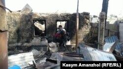 Последствия пожара в селе Туздыбастау Талгарского района Алматинской области. 28 июля 2017 года.