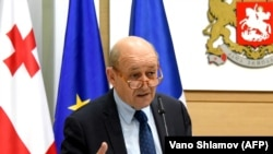 GEORGIA -- French Foreign Minister Jean-Yves Le Drian gives a speech during a meeting with his Georgian counterpart Mikheil Janelidze on May 26, 2018 in Tbilisi.