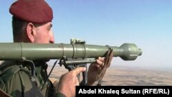 مقاتل من قوات البيشمركة في محور الفاضلية شرق الموصل