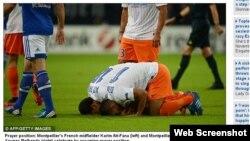 Schalke və Montpellier komandaları arasında oyun zamanı Ait-Fana (solda) və Younes Belhanda (sağda) qoldan sonra sevinclərini belə ifadə edirlər.