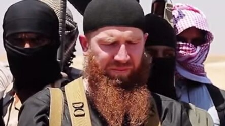 Georgian native and IS member Umar al-Shishani (Tarkhan Batirashvili) in a photo from 2014