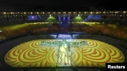 A scene from the closing ceremony of the Rio 2016 Olympic Games