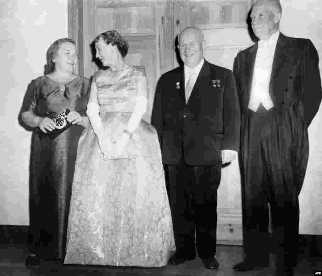 In 1959, Khrushchev became the first Soviet leader to pay an official visit to the United States. Here, he poses with his wife Nina (left), U.S. President Dwight D. Eisenhower, and Eisenhower's wife Mamie on September 16, 1959.