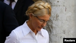 Former Ukrainian Prime Minister Yulia Tymoshenko arrives at court on August 5.