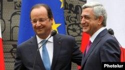 Во время визита президента Франции Франсуа Олланда в Ереван, 13 мая, 2014 года.