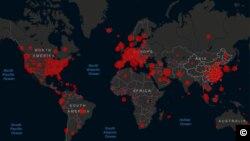 Koronavirusun yayılma xəritəsi. Martın 23-ə olan vəziyyət