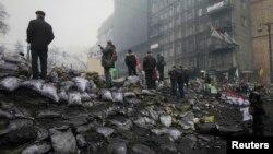 Ուկրաինա - Բարիկադները Կիևում, 10-ը փետրվարի, 2014թ.