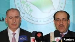 المالكي والنجيفي في مؤتمر صحفي بمجلس النواب عام 2010