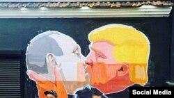 Putin cu Trump, graffiti în Lituania