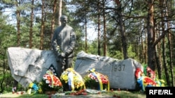A memorial to victims of Stalin's regime in the Bykivnya forest near Kyiv