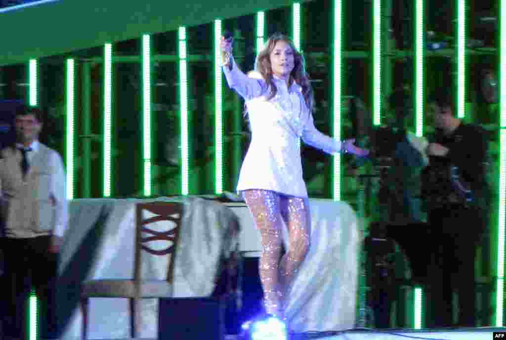 "U.S. pop diva Jennifer Lopez performs at Avaza, near the Turkmen city of Turkmenbashi on June 29, 2013. J.Lo sang ""Happy Birthday"" to President Gurbanguly Berdymukhammedov, who was described by Human Rights Watch in January as the leader of ""one of the world's most repressive"" regimes and owner of a notoriously dismal human rights record."