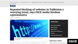 ATƏT Tacikistanda internetin blok olunmasını pisləyir, 7 oktybar