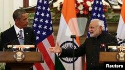 АҚШ президенті Барак Обама мен Үндістан президенті Нарендра Моди. Нью-Дели, 25 қаңтар 2015 жыл.