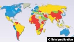 მსოფლიოში ეკონომიკური თავისუფლების ამსახველი რუკა