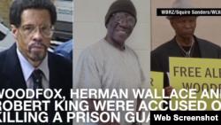 از چپ وودفاکس در اولین دادگاه، در جریان زندان انفرادی و عکس سوم، حامیان آزادی او در کمپین عفو بین الملل