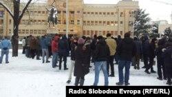 Протест на Професорскиот и Студентскиот пленум пред Собранието.