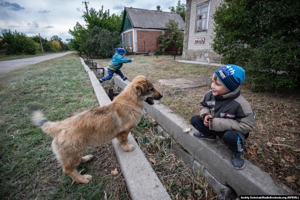 7-летний Вова и его брат Степан играют с собакой