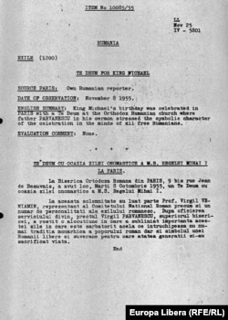 Un raport despre o transmisie Radio Europa Liberă în onoarea regelui Mihai în 1955