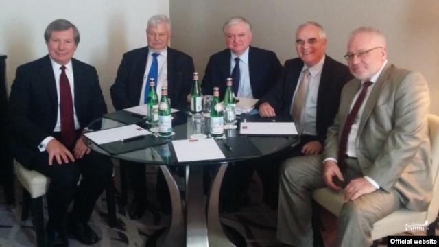 Belgium -- Armenian FM Edward Nalbandian meeting withthe OSCE Minsk Group co-chairs, Brussels, 22Jul2014
