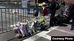Место взрыва на второй день после Бостонского марафона. 16 апреля 2013 года. Фото Карлыгаш Жакияновой.