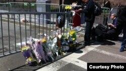Жарылыс болған жердің суреті. Бостон, 16 сәуір 2013 жыл. Қарлығаш Жақиянова түсірген фото.