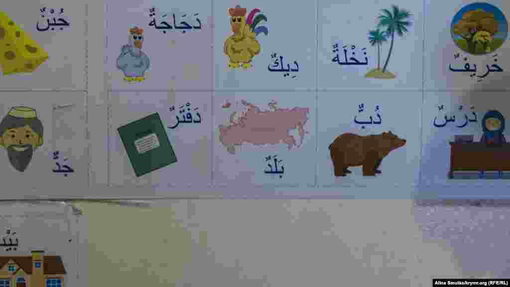 Арабский алфавит на стене дома у Джемаденовых. Эмиль занимался с детьми самостоятельно. Сейчас мальчики повторяют выученное сами. «Бабашка хочет, чтобы мы умели читать», – говорят дети