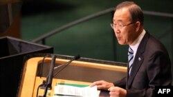 Генеральный секретарь ООН Пан Ги Мун во время выступления на Генеральной Ассамблее ООН. Нью-Йорк, 25 сентября 2012 года.