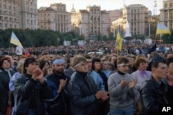 Protesters rally in Kyiv with then-banned Ukrainian flags flying.