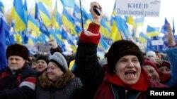 Ukrainanyň hökümetini goldap geçirilýän demonstrasiýa, Kiýew, 14-nji dekabr, 2013.